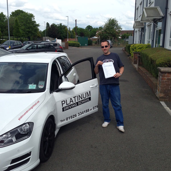 Cool as a cucumber. Ian passes his driving test