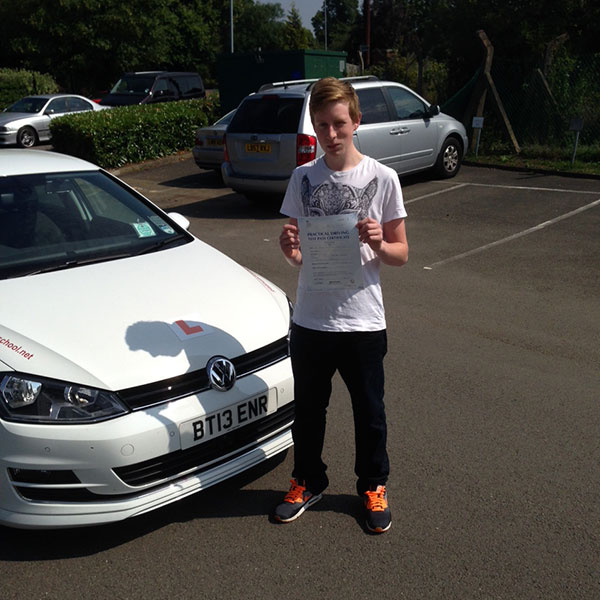James passing his driving test, after driving lessons with Platinum Driving School