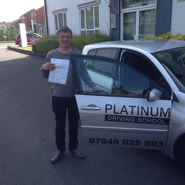 Chriss passing his driving test, after lessons with Platinum Driving School