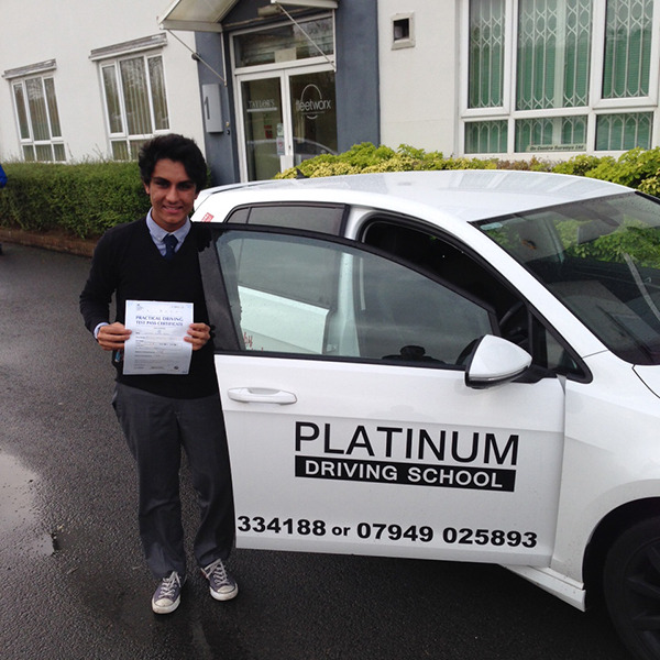 Male learner driver passed driving test with Platinum Driving Schoo