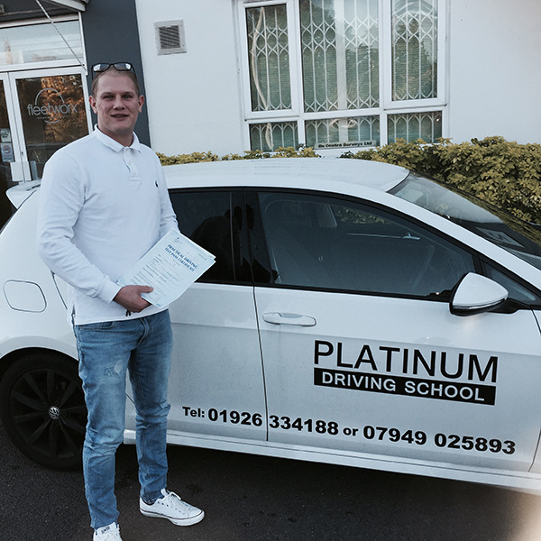 Image of Ken from Whitnash with driving certificate after taking driving lessons with Platinum Driving School