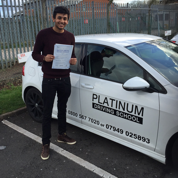 Image of Josh of Warwick, passing driving test after driving lessons with Platinum Driving School Leamington Spa